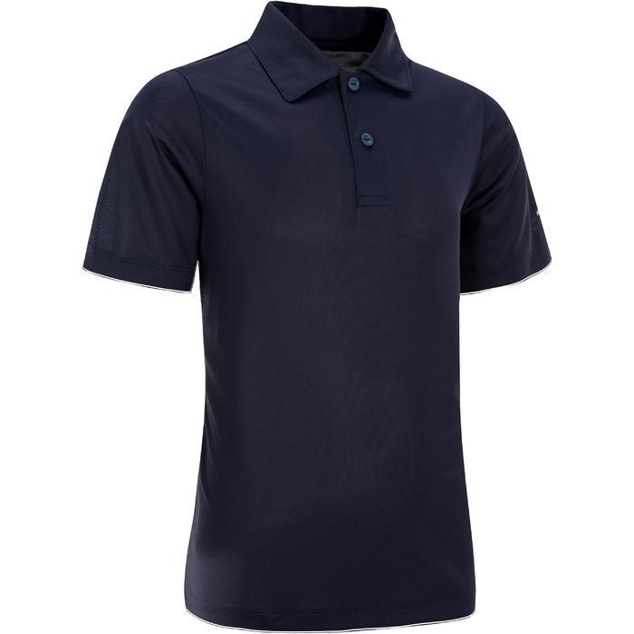 兒童款網球Polo衫100-軍藍色