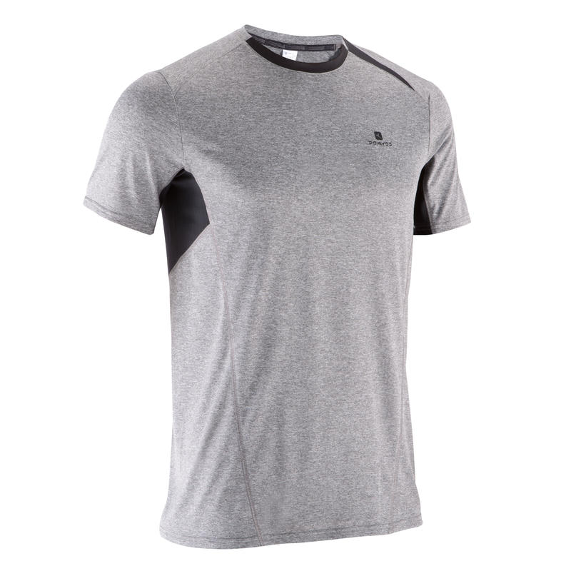 Tee shirt LIGHT BREATHE fitness homme gris chiné clair imprimé