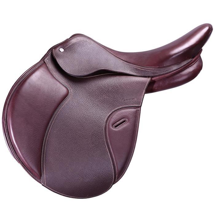 """Selle polyvalente en cuir à arçon réglable équitation cheval PADDOCK 17""""5 - 39460"""