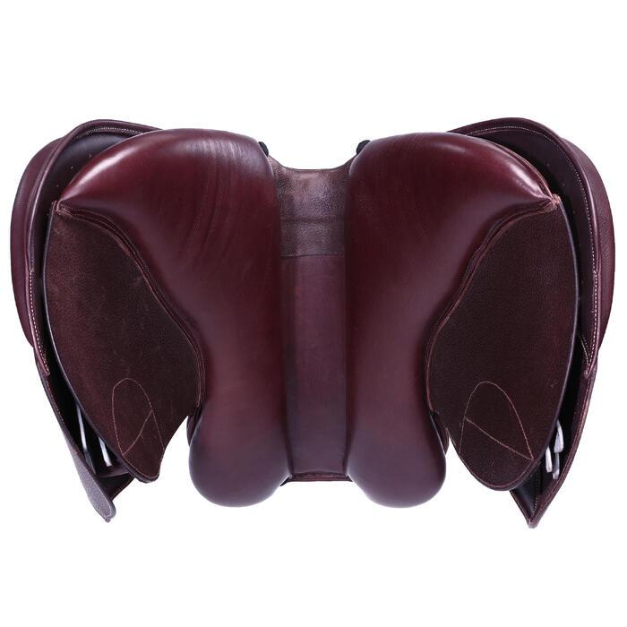 """Selle polyvalente en cuir à arçon réglable équitation cheval PADDOCK 17""""5 - 39461"""