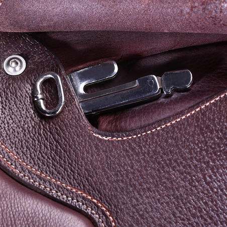 "Paddock Horseback Riding All-Purpose 17½"" Adjustable Tree Leather Saddle - Brown"