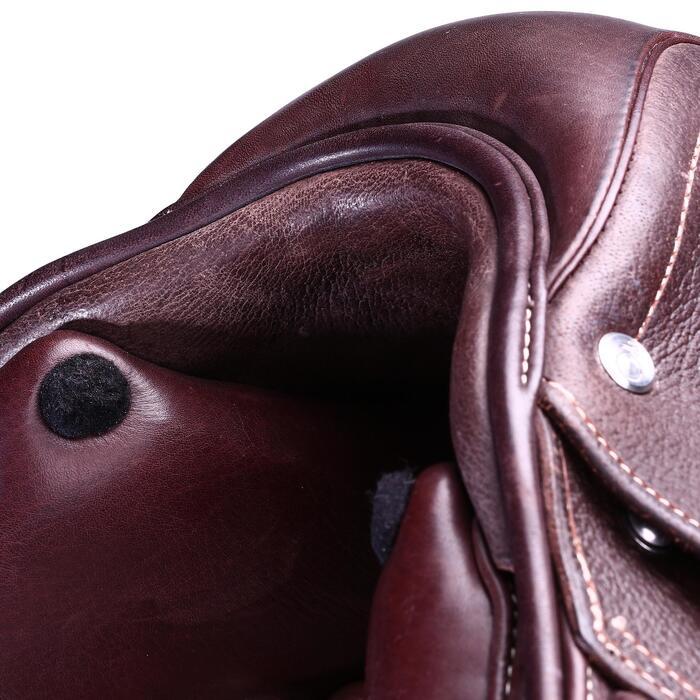 """Selle polyvalente en cuir à arçon réglable équitation cheval PADDOCK 17""""5 - 39470"""