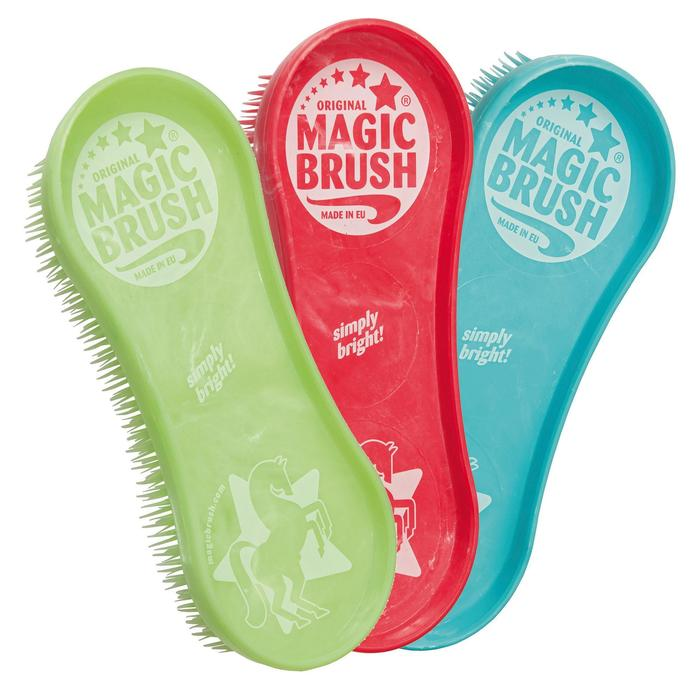 Lot de 3 brosses équitation MAGIC BRUSH bleu, rouge et vert - 39591