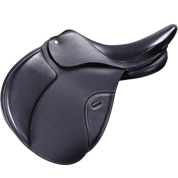 """Selle polyvalente en cuir à arçon réglable équitation cheval PADDOCK 17""""5 - 39593"""