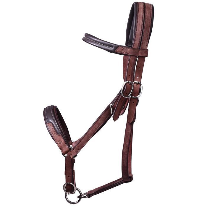 Bridon licol + rênes équitation randonnée ESCAPE marron - taille cheval - 39700