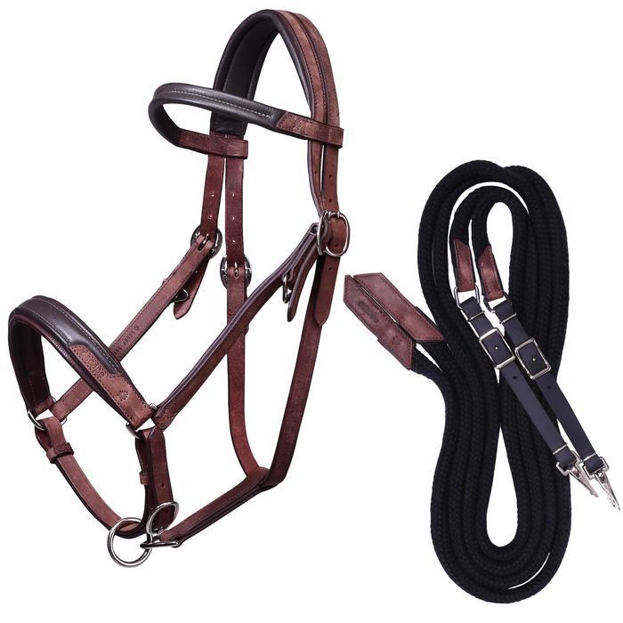 Bridon licol + rênes équitation randonnée ESCAPE marron - taille cheval - 39717