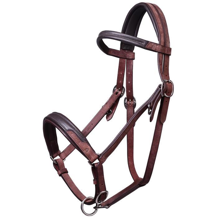Bridon licol + rênes équitation randonnée ESCAPE marron - taille cheval - 39719