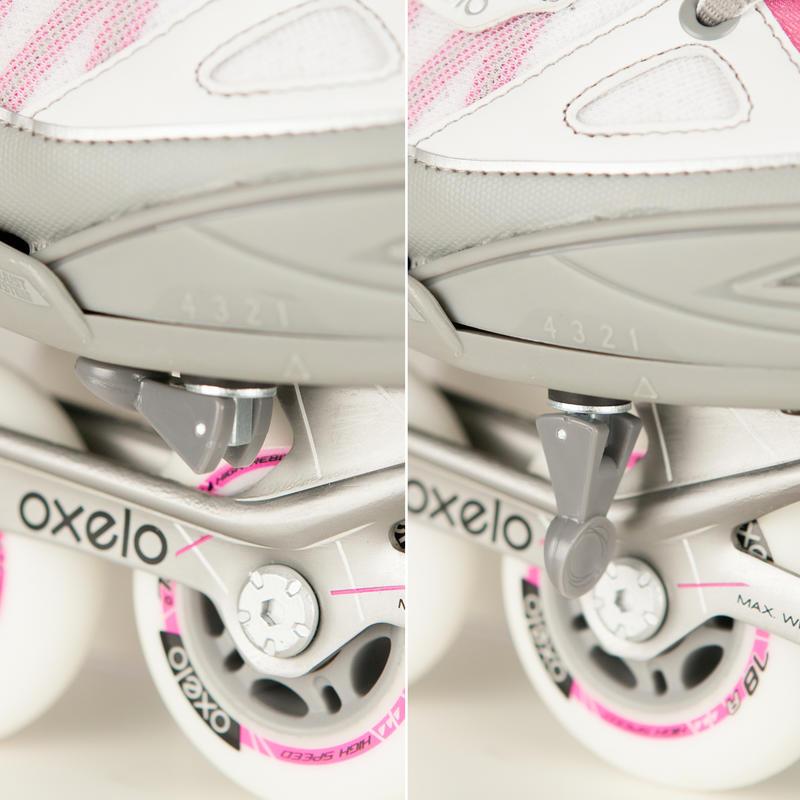 รองเท้าอินไลน์สเก็ตสำหรับเด็กรุ่น Fit 5 (สีชมพู/ขาว)
