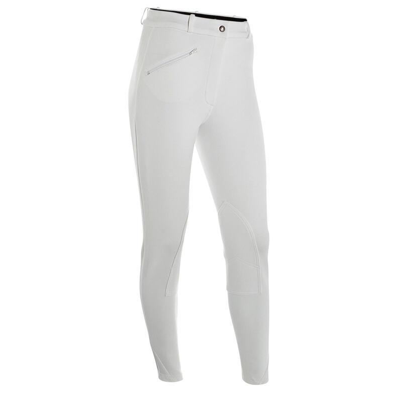 Pantalón Equitación Fouganza 100 mujer blanco competición