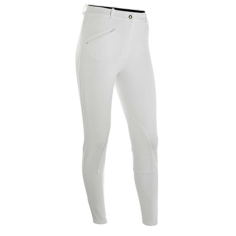 RIDING APPAREL FOR SHOW Horse Riding - KOMFORT Women's Jodhpurs White FOUGANZA - Horse Riding Clothes