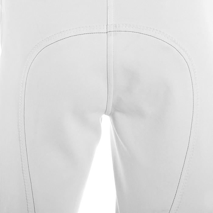 Wedstrijdbroek Performer 300 voor dames, kunstleren zitvlak, ruitersport wit