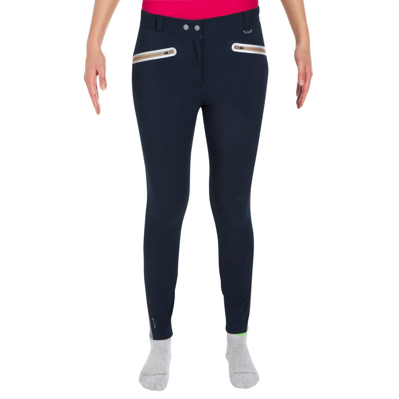 Training Mesh Women's Horse Riding Jodhpurs - Navy/Beige