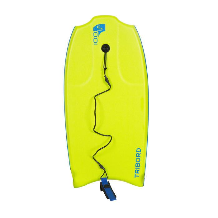 "Bodyboard 100 S (35"") Vert  avec semelle de glisse et leash."