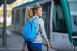 Kleine opvouwbare rugzak voor dagelijks gebruik Pocket Bag blauw met pijlen - 407411