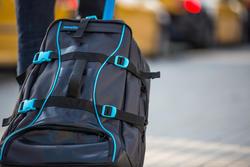 Koffer op wieltjes / rugzak Sport 90 l zwart/blauw - 407429