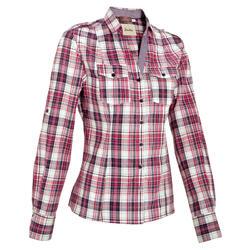 Camisa Manga Comprida Equitação Mulher SENTIER Quadrados Rosa e Branco
