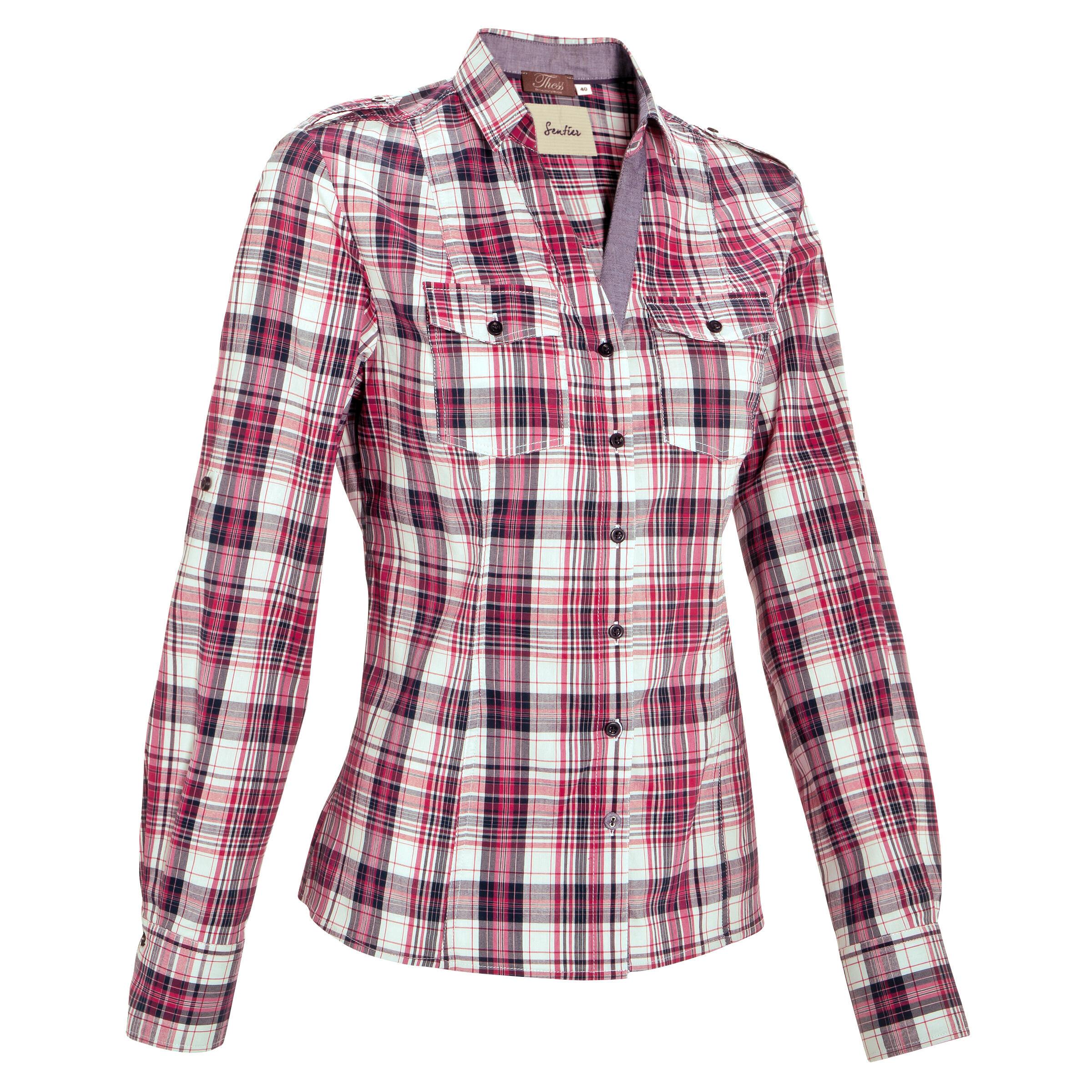 Chemise manches longues à carreaux équitation femme sentier rose et blanc okkso