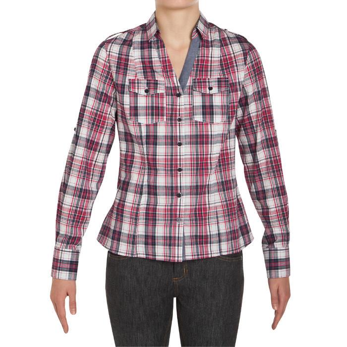 Chemise manches longues à carreaux équitation femme SENTIER rose et blanc - 408798
