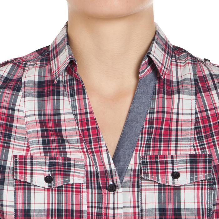 Chemise manches longues à carreaux équitation femme SENTIER rose et blanc - 408799