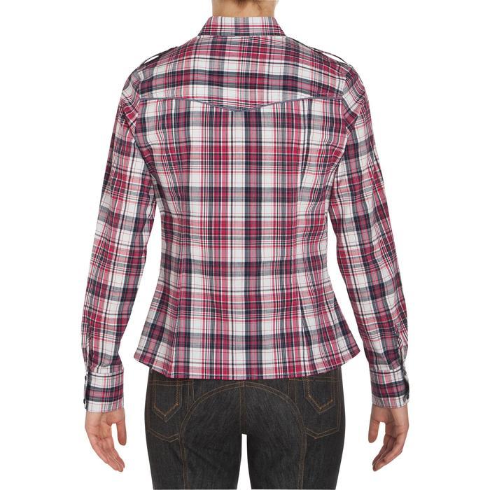 Chemise manches longues à carreaux équitation femme SENTIER rose et blanc - 408800