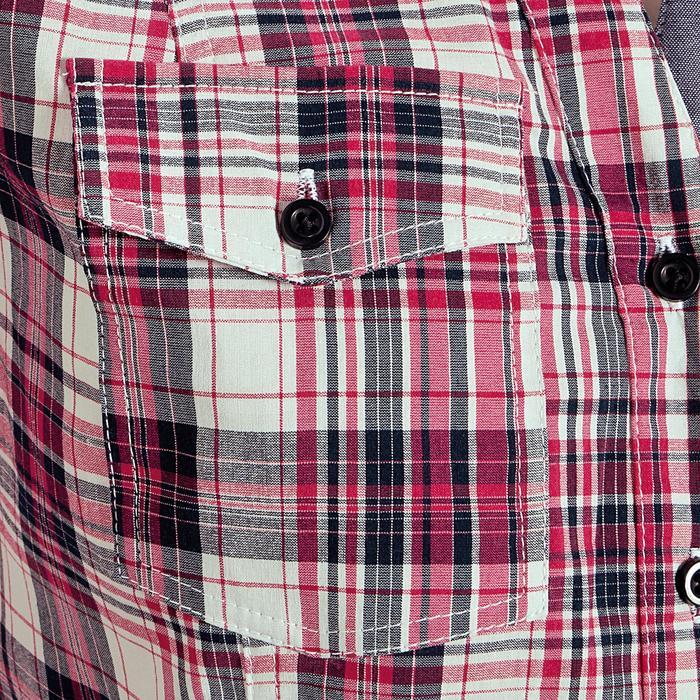Chemise manches longues à carreaux équitation femme SENTIER rose et blanc - 408804
