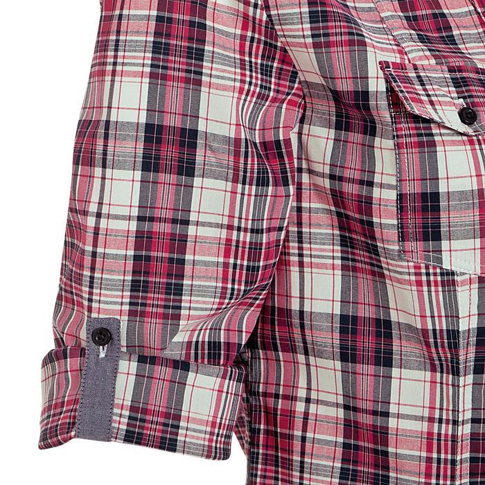 Camisa Equitación OKKSO Sentier Mujer Rosa y Blanco Cuadros Manga 3/4
