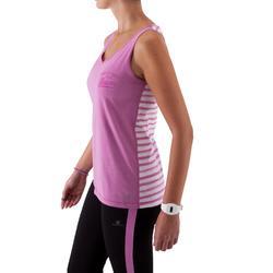 Camiseta sin mangas fitness mujer bicolor malva y rayas malva