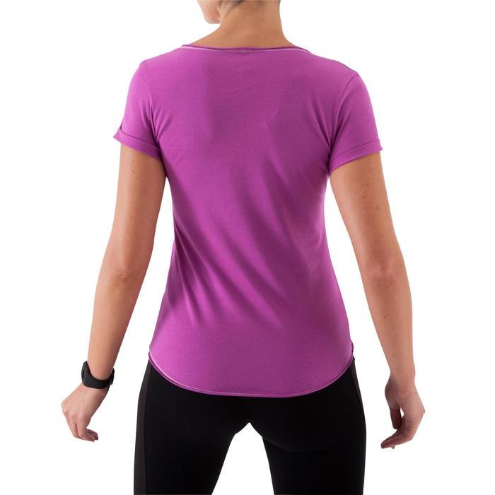Camiseta fitness estampada manga corta rosa oscuro mujer