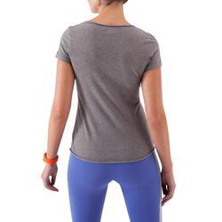 Camiseta fitness estampada manga corta gris oscuro mujer