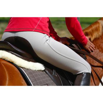 Pantalón Equitación Fouganza Accesy 300 Mujer Beige Badana y Culera de Polipiel