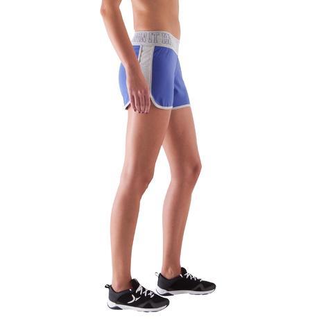 93cca6d2211c Short Fitness Femme bleu, ceinture contrastée grise   Domyos by ...