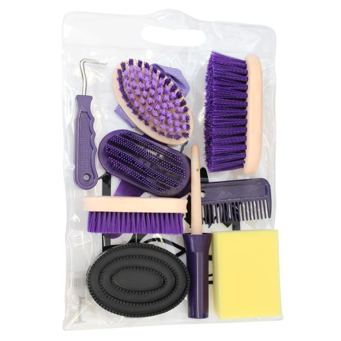 Kit de limpieza 9 piezas equitación niños violeta