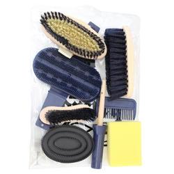 Kit de limpieza 9 piezas equitación adulto azul marino