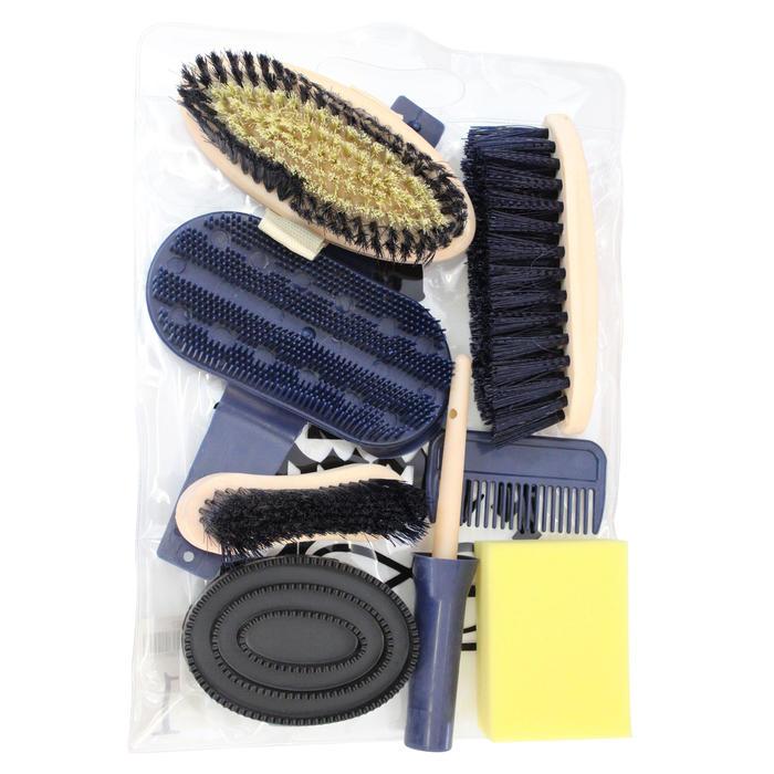 Kit de pansage équitation adulte 9 pièces bleu marine - 412565