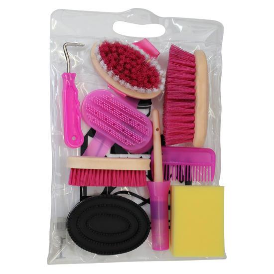 Verzorgingsset 9-delig kinderen ruitersport roze - 412567