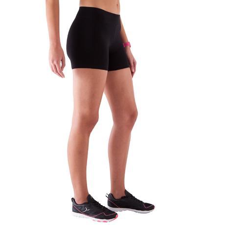 short court slim gym pilates femme noir fit domyos by decathlon. Black Bedroom Furniture Sets. Home Design Ideas