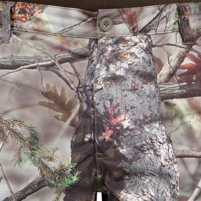 Штани 100 для полювання, теплі - Коричневий камуфляж