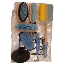 Kit de pansage équitation enfant 9 pièces bleu ciel et noir