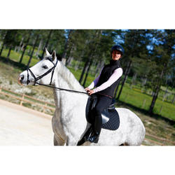 """Silla polivalente de cuero equipada equitación caballo poni SCHOOLING negro 16""""5"""