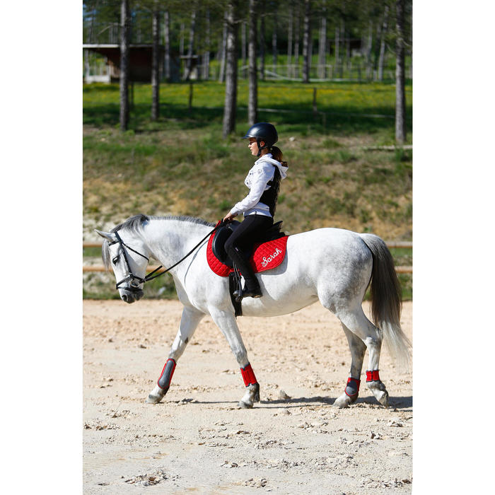 """Selle polyvalente en cuir équipée équitation cheval et poney SCHOOLING noir 16""""5"""