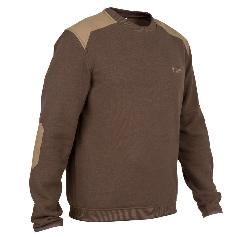 SWEATERS Shooting and Hunting - 300 PULLOVER BROWN SOLOGNAC - Hunting and Shooting Clothing