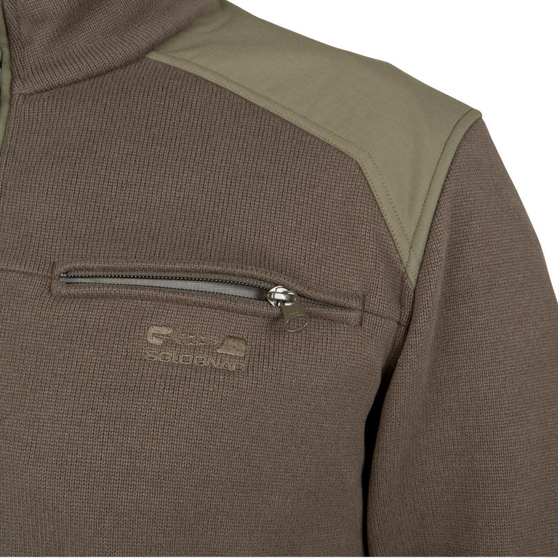 Pull chasse 300 col montant vert