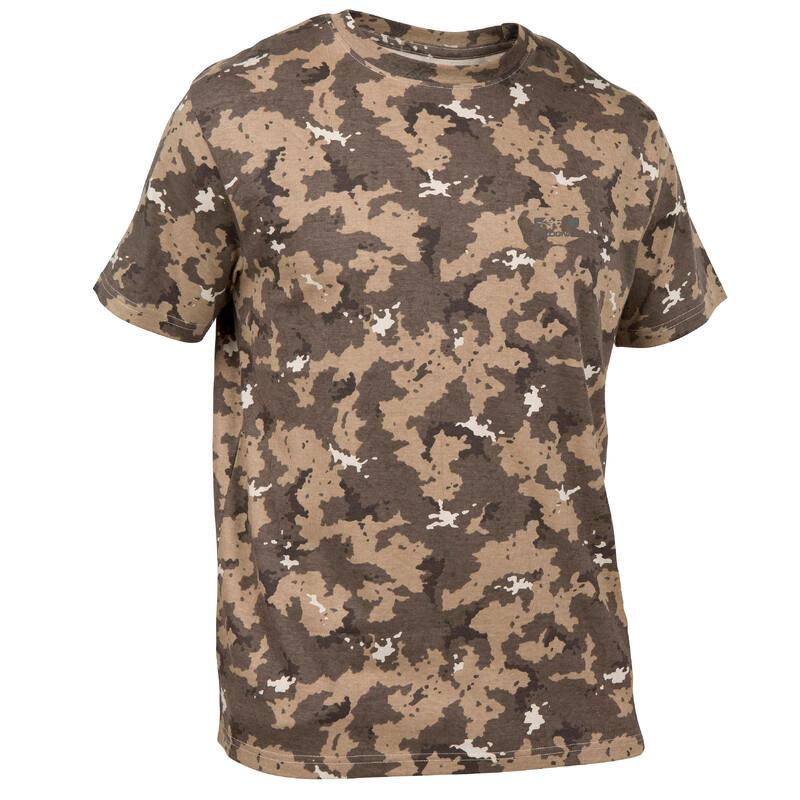 T-shirt de Caça 100 Camuflado Castanho