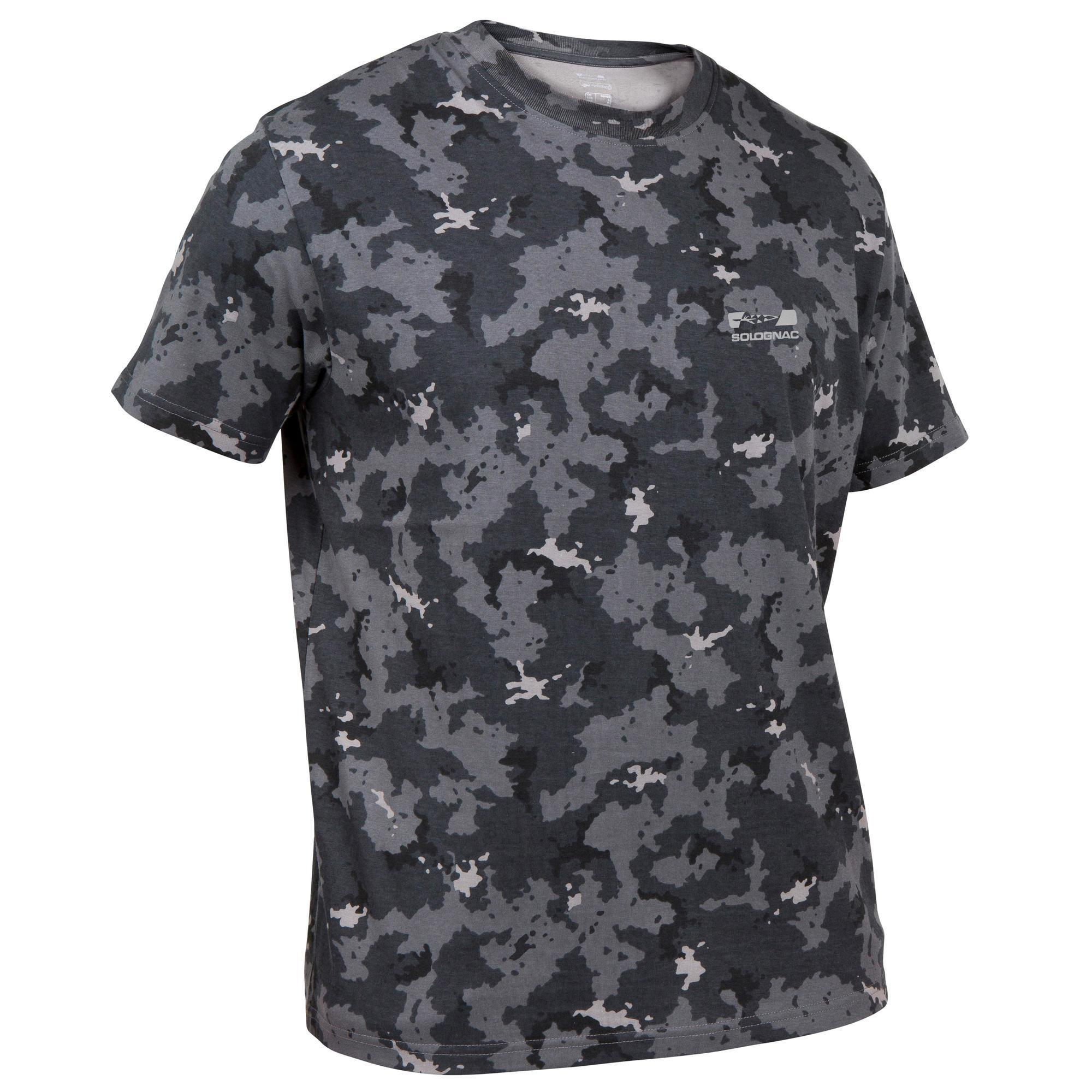 T shirt manches courtes chasse 100 camouflage gris solognac