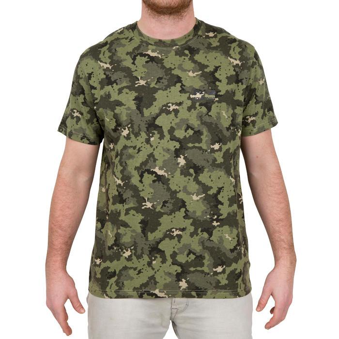 Camiseta de caza de manga corta 100 camuflaje verde