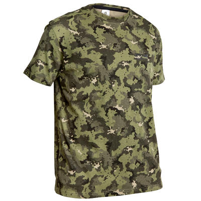 T-shirt manches courtes chasse 100 camouflage vert