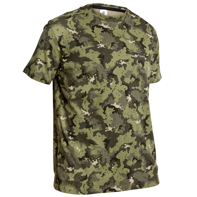 T-SHIRTS/TENNISTRÖJOR FÖR JAKT Dam - T-shirt jakt 100 MC kamo grön SOLOGNAC - Överdelar
