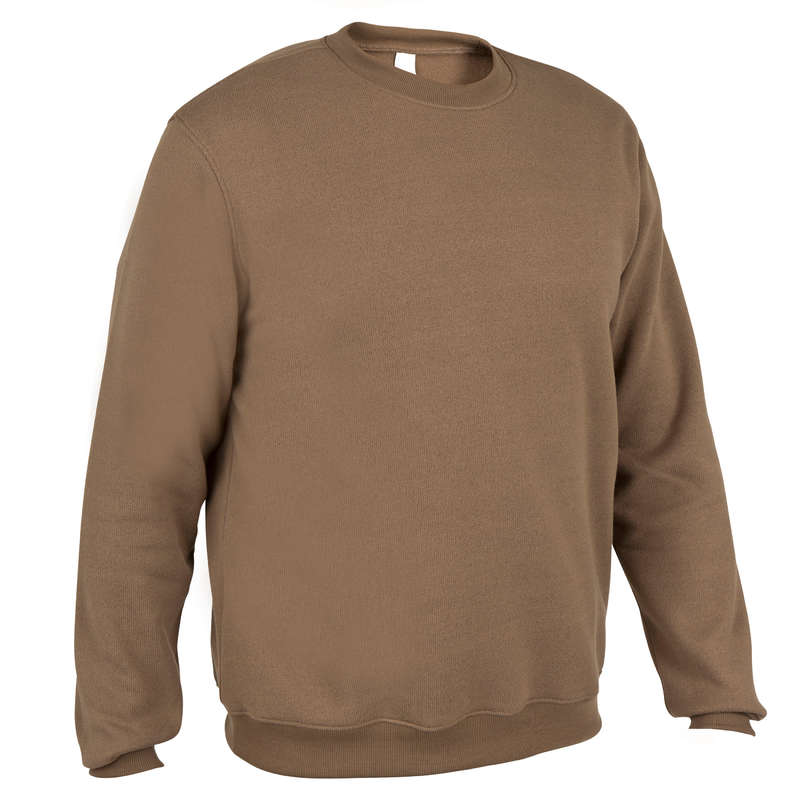 SWEATERS Shooting and Hunting - 100 PULLOVER BROWN SOLOGNAC - Hunting and Shooting Clothing