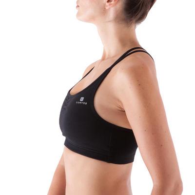 Women's Dance Crop Top with Cross-Over Straps - Black
