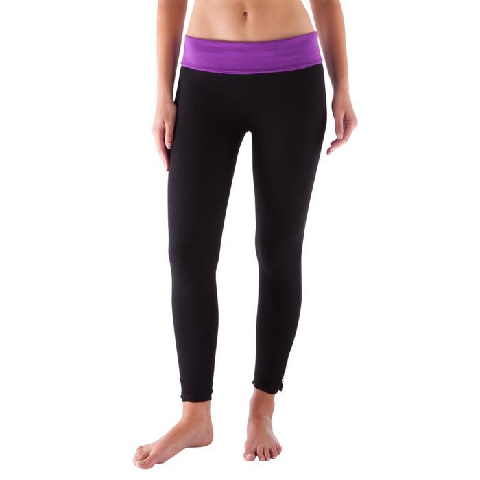 Legging yoga femme coton issu de l'agriculture biologique noir / gris chiné - 419158